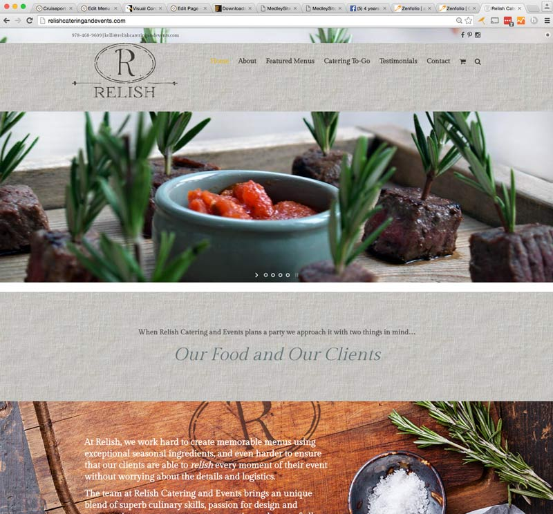 website danvers, catering website, relish catering