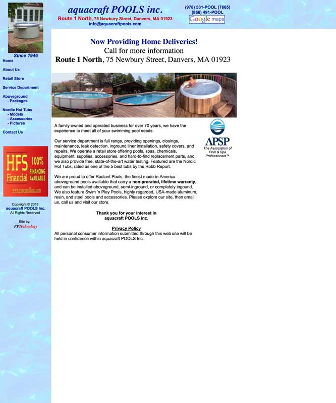Before shot of Aquacraft's old website.