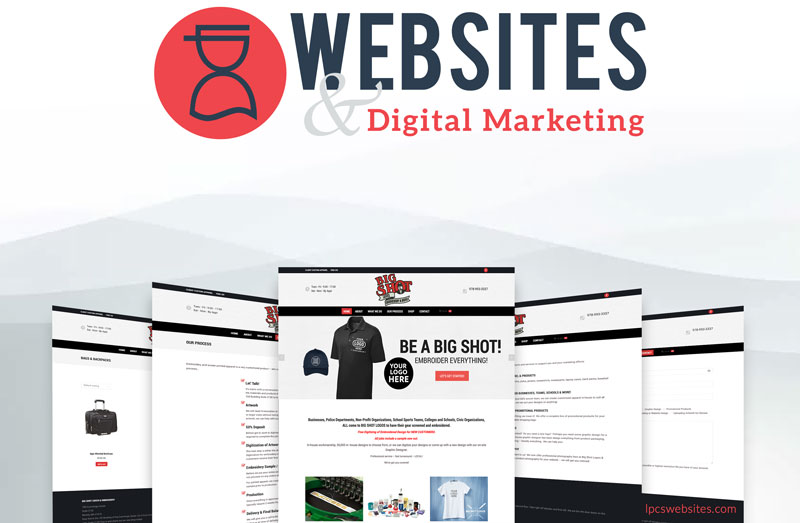 New logo and website for embroidery and promotional product shop Big Shot Logos of Beverly
